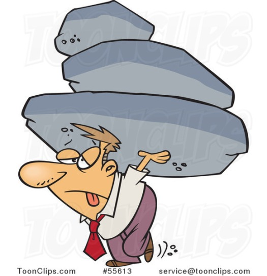 cartoon-exhausted-business-man-carrying-the-burden-of-a-heavy-boulder-load-by-ron-leishman-55613